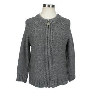 Elie Tahari 100% Alpaca Zip Up Cardigan Sweater